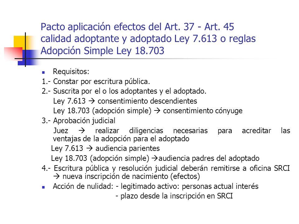 Pacto aplicación efectos del Art. 37 - Art. 45 calidad adoptante y adoptado Ley 7.613 o reglas Adopción Simple Ley 18.703 Requisitos: 1.- Constar por
