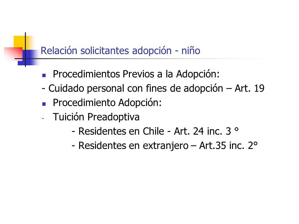 Relación solicitantes adopción - niño Procedimientos Previos a la Adopción: - Cuidado personal con fines de adopción – Art. 19 Procedimiento Adopción:
