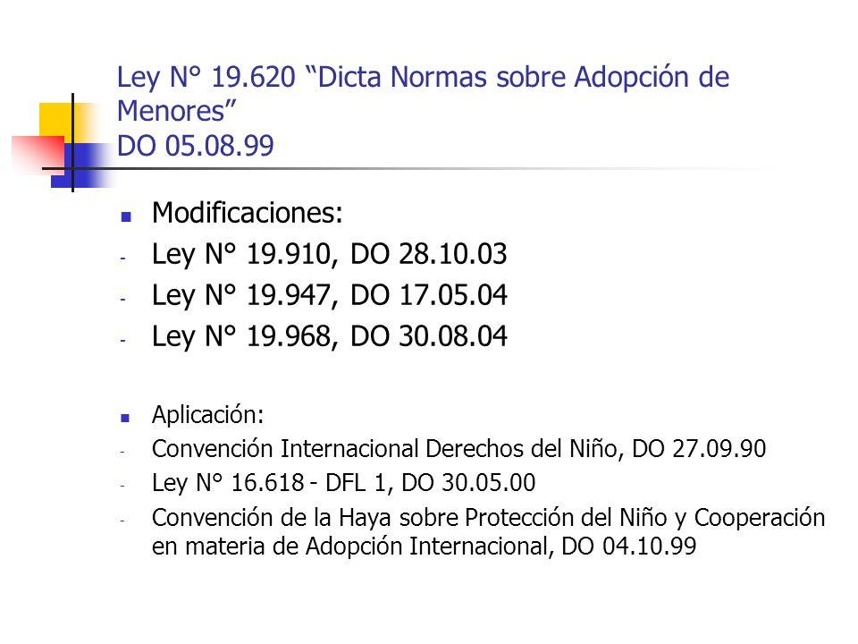 Ley N° 19.620 Dicta Normas sobre Adopción de Menores DO 05.08.99 Modificaciones: - Ley N° 19.910, DO 28.10.03 - Ley N° 19.947, DO 17.05.04 - Ley N° 19