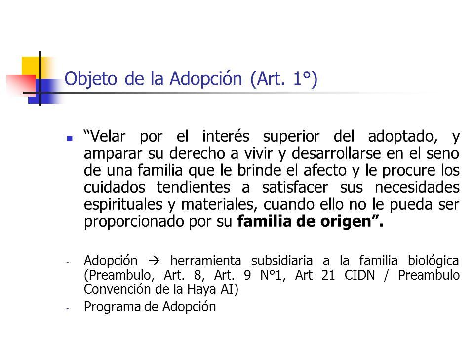 Objeto de la Adopción (Art. 1°) Velar por el interés superior del adoptado, y amparar su derecho a vivir y desarrollarse en el seno de una familia que
