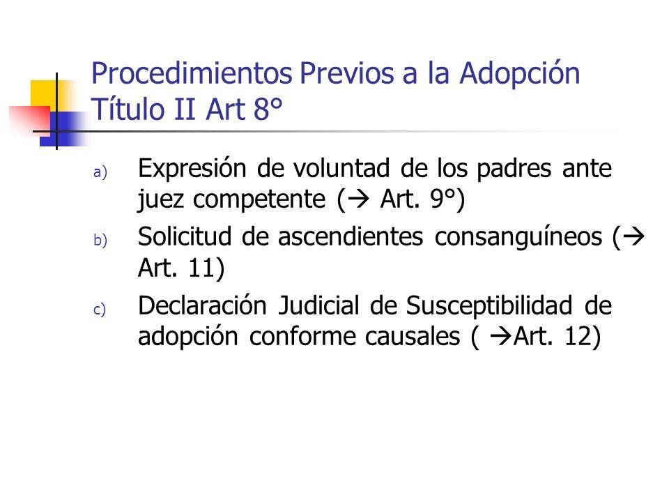 Procedimientos Previos a la Adopción Título II Art 8° a) Expresión de voluntad de los padres ante juez competente ( Art. 9°) b) Solicitud de ascendien