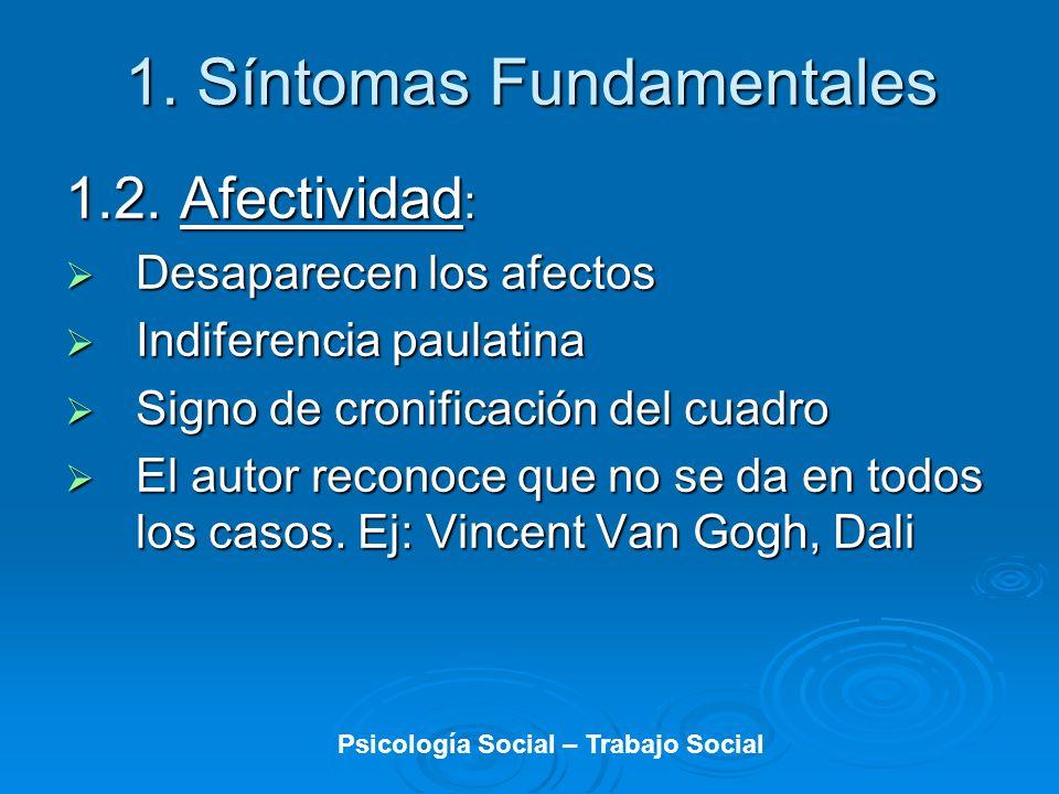 1. Síntomas Fundamentales 1.2. Afectividad : Desaparecen los afectos Desaparecen los afectos Indiferencia paulatina Indiferencia paulatina Signo de cr