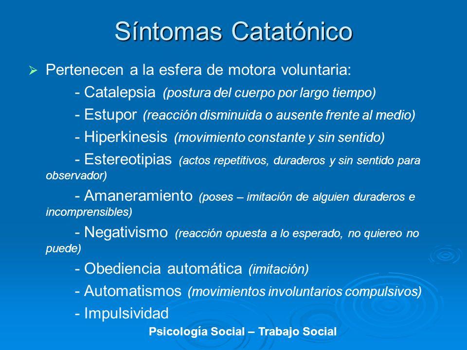 Síntomas Catatónico Pertenecen a la esfera de motora voluntaria: - Catalepsia (postura del cuerpo por largo tiempo) - Estupor (reacción disminuida o a
