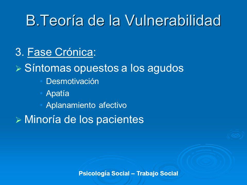 3. Fase Crónica: Síntomas opuestos a los agudos Desmotivación Apatía Aplanamiento afectivo Minoría de los pacientes B.Teoría de la Vulnerabilidad Psic