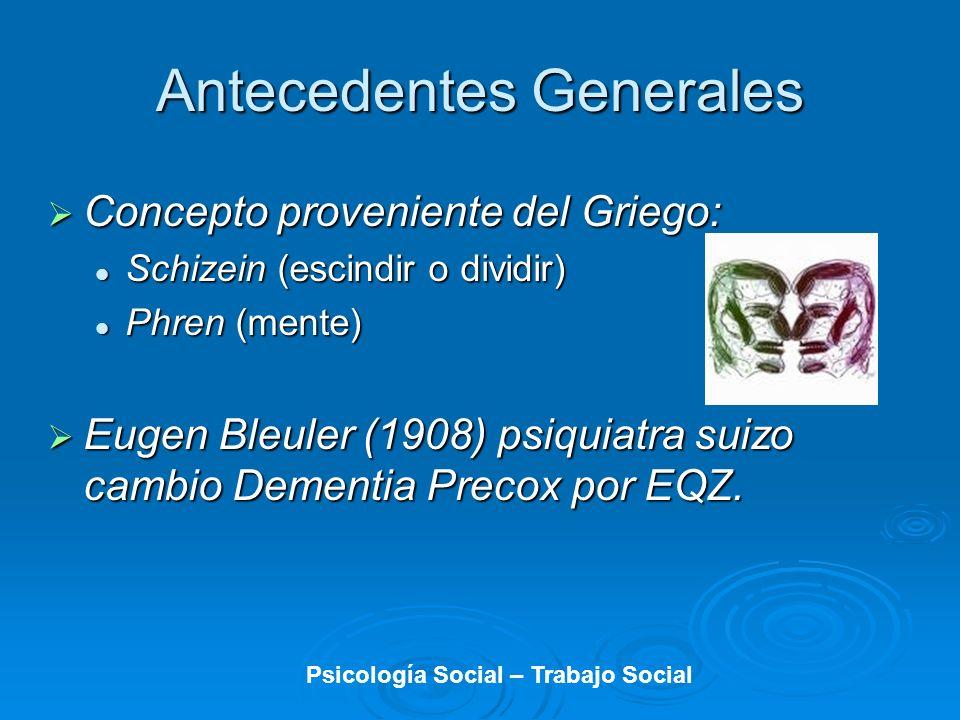 Antecedentes Generales Concepto proveniente del Griego: Concepto proveniente del Griego: Schizein (escindir o dividir) Schizein (escindir o dividir) P