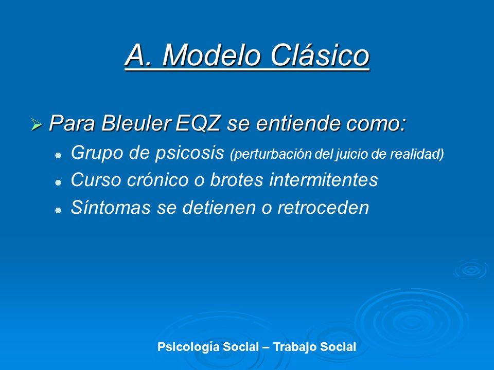 A. Modelo Clásico Para Bleuler EQZ se entiende como: Para Bleuler EQZ se entiende como: Grupo de psicosis (perturbación del juicio de realidad) Curso