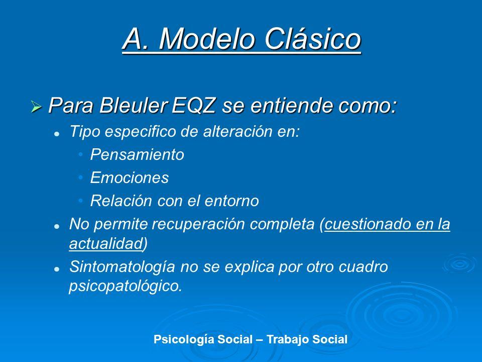 A. Modelo Clásico Para Bleuler EQZ se entiende como: Para Bleuler EQZ se entiende como: Tipo especifico de alteración en: Pensamiento Emociones Relaci