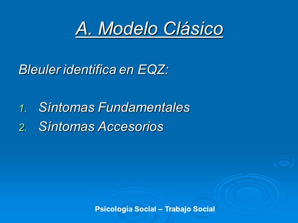 A. Modelo Clásico Bleuler identifica en EQZ: 1. Síntomas Fundamentales 2. Síntomas Accesorios Psicología Social – Trabajo Social