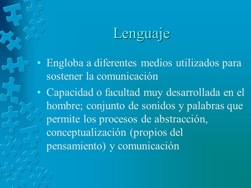 Lenguaje Engloba a diferentes medios utilizados para sostener la comunicación Capacidad o facultad muy desarrollada en el hombre; conjunto de sonidos
