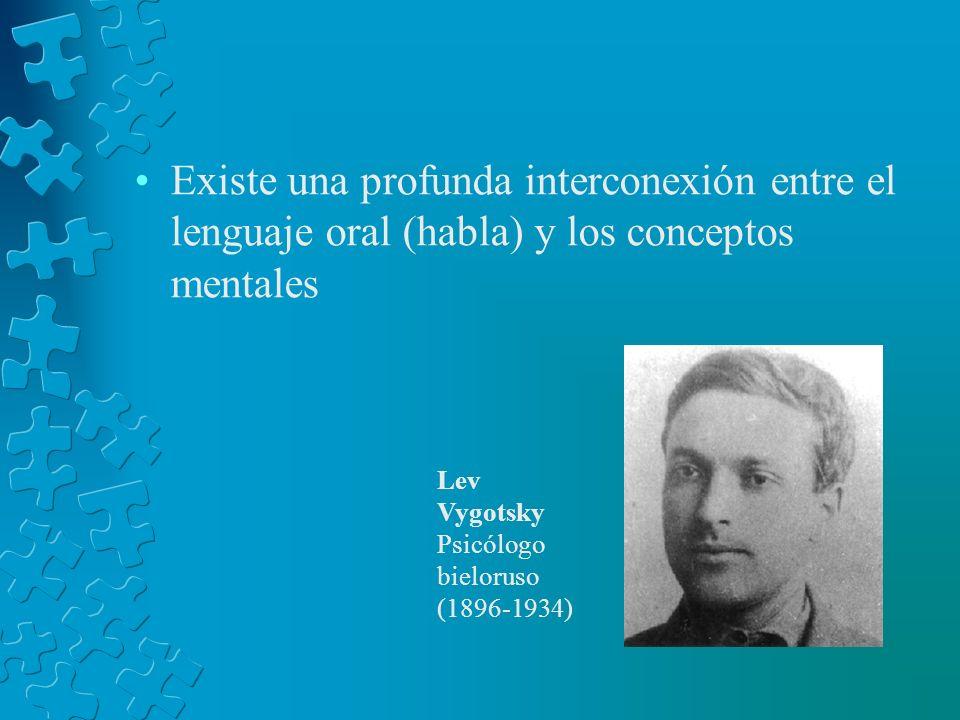 Existe una profunda interconexión entre el lenguaje oral (habla) y los conceptos mentales Lev Vygotsky Psicólogo bieloruso (1896-1934)