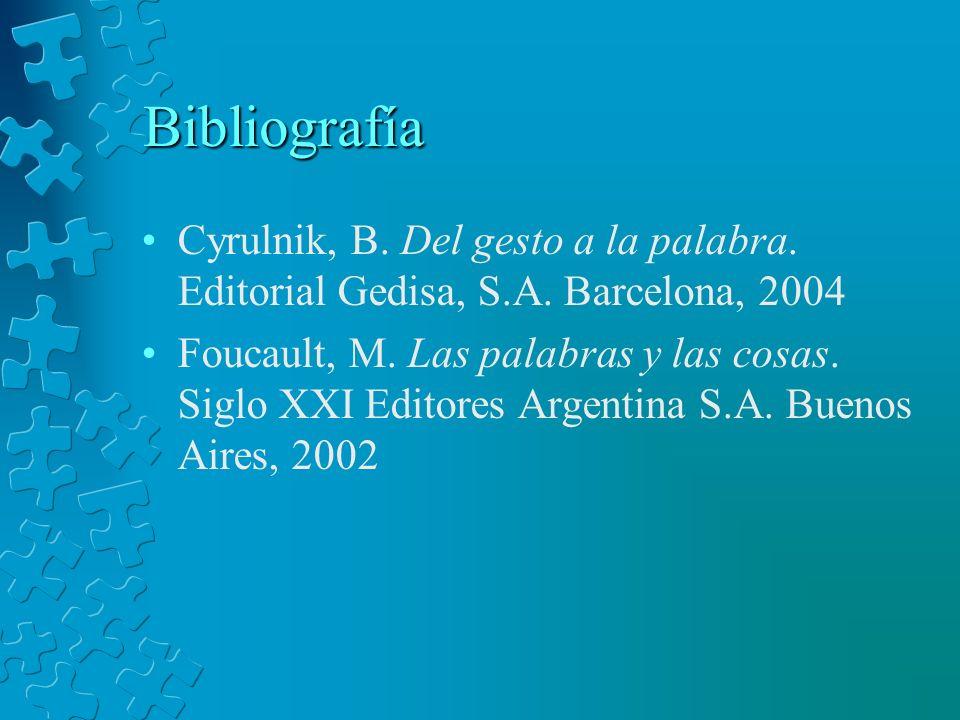 Bibliografía Cyrulnik, B. Del gesto a la palabra. Editorial Gedisa, S.A. Barcelona, 2004 Foucault, M. Las palabras y las cosas. Siglo XXI Editores Arg