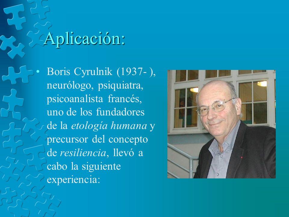 Aplicación: Boris Cyrulnik (1937- ), neurólogo, psiquiatra, psicoanalista francés, uno de los fundadores de la etología humana y precursor del concept