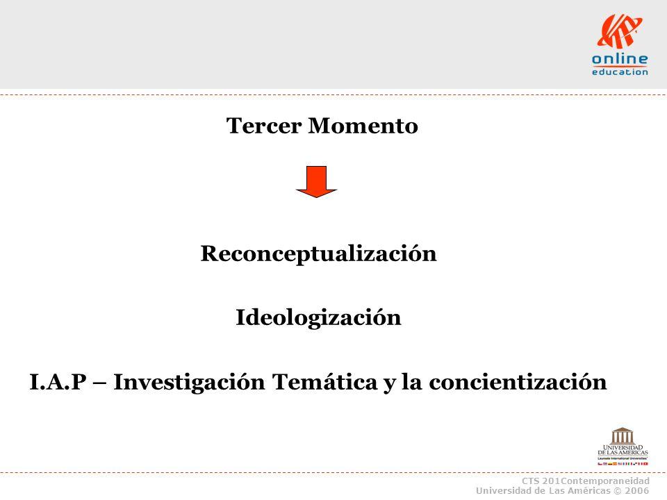 CTS 201Contemporaneidad Universidad de Las Américas © 2006 Tercer Momento Reconceptualización Ideologización I.A.P – Investigación Temática y la conci