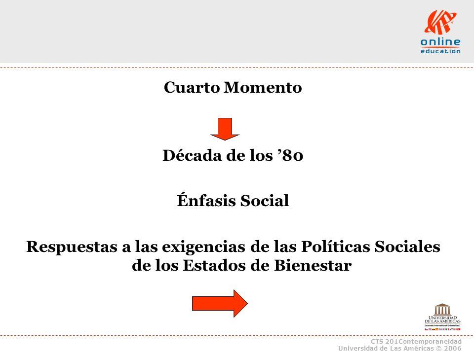 CTS 201Contemporaneidad Universidad de Las Américas © 2006 Cuarto Momento Década de los 80 Énfasis Social Respuestas a las exigencias de las Políticas