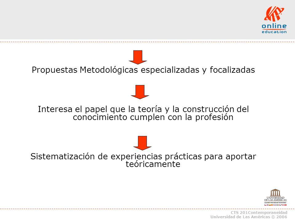 CTS 201Contemporaneidad Universidad de Las Américas © 2006 Propuestas Metodológicas especializadas y focalizadas Interesa el papel que la teoría y la