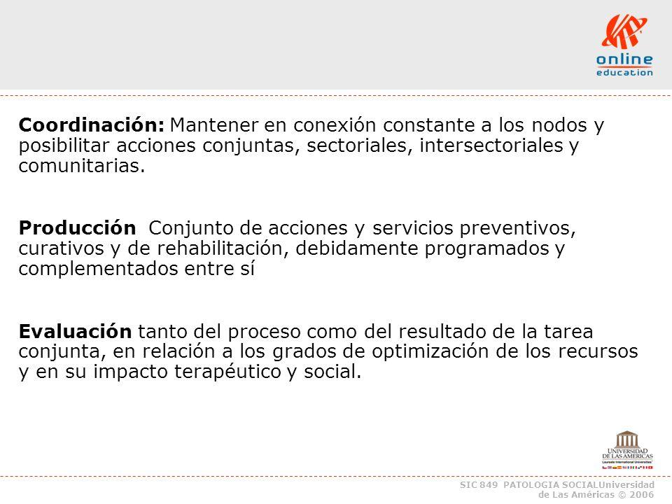 SIC 849 PATOLOGIA SOCIALUniversidad de Las Américas © 2006 Coordinación: Mantener en conexión constante a los nodos y posibilitar acciones conjuntas, sectoriales, intersectoriales y comunitarias.