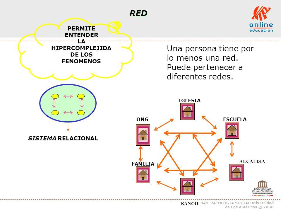 SIC 849 PATOLOGIA SOCIALUniversidad de Las Américas © 2006 RED PERMITE ENTENDER LA HIPERCOMPLEJIDA DE LOS FENOMENOS Una persona tiene por lo menos una red.