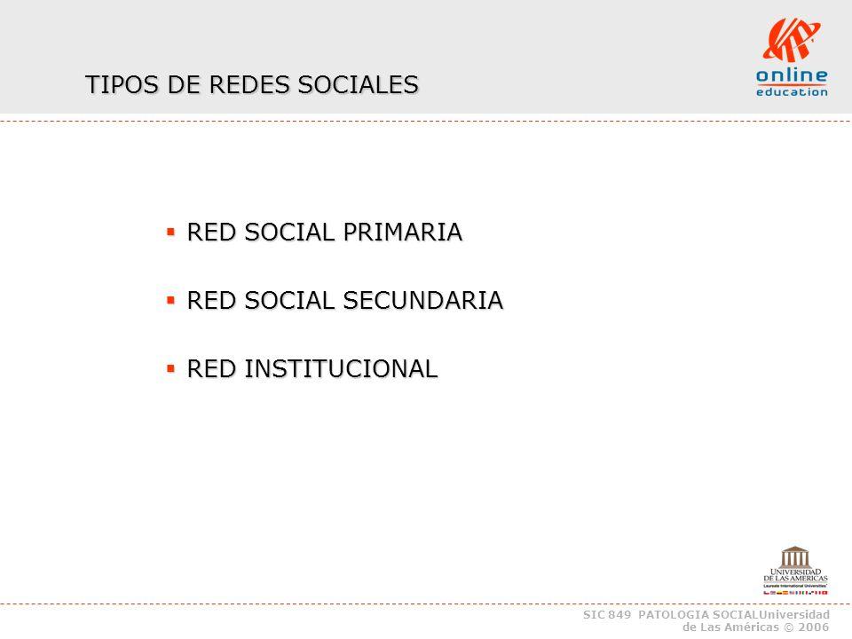 SIC 849 PATOLOGIA SOCIALUniversidad de Las Américas © 2006 TIPOS DE REDES SOCIALES RED SOCIAL PRIMARIA RED SOCIAL PRIMARIA RED SOCIAL SECUNDARIA RED SOCIAL SECUNDARIA RED INSTITUCIONAL RED INSTITUCIONAL