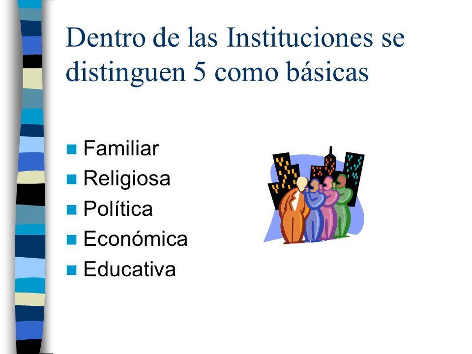 Dentro de las Instituciones se distinguen 5 como básicas Familiar Religiosa Política Económica Educativa