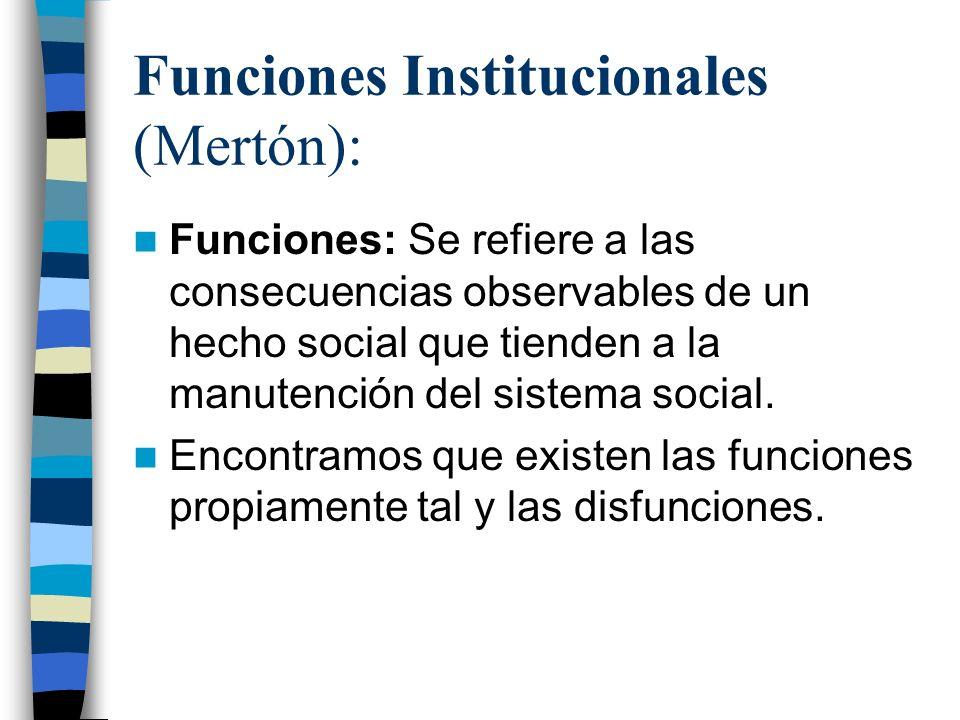 Funciones Institucionales (Mertón): Funciones: Se refiere a las consecuencias observables de un hecho social que tienden a la manutención del sistema