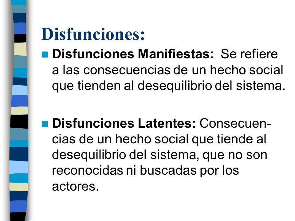 Disfunciones: Disfunciones Manifiestas: Se refiere a las consecuencias de un hecho social que tienden al desequilibrio del sistema. Disfunciones Laten