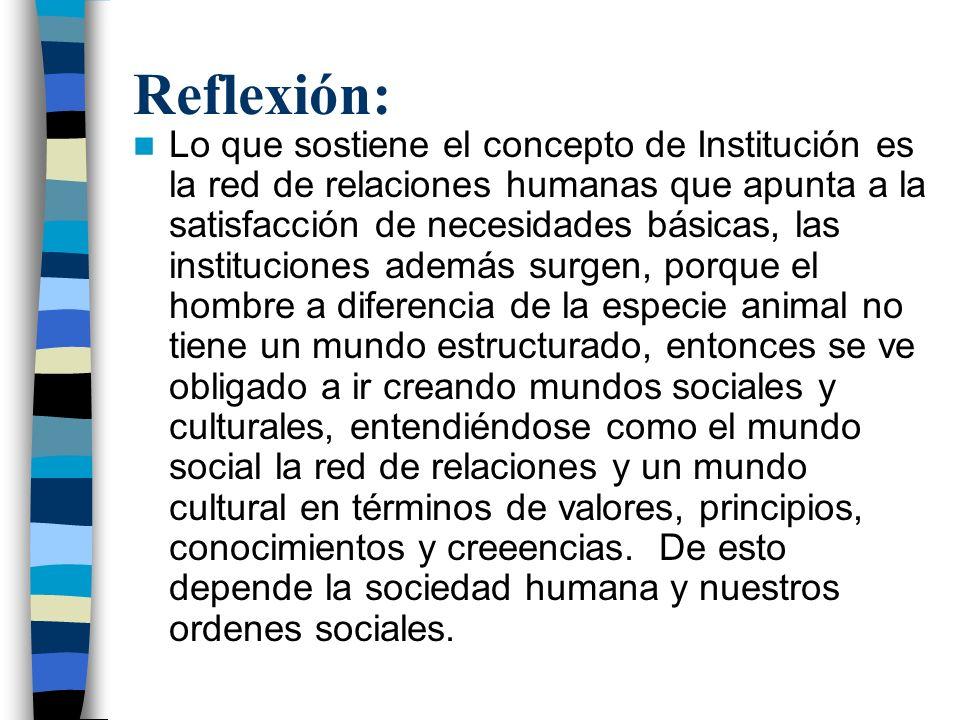 Reflexión: Lo que sostiene el concepto de Institución es la red de relaciones humanas que apunta a la satisfacción de necesidades básicas, las institu