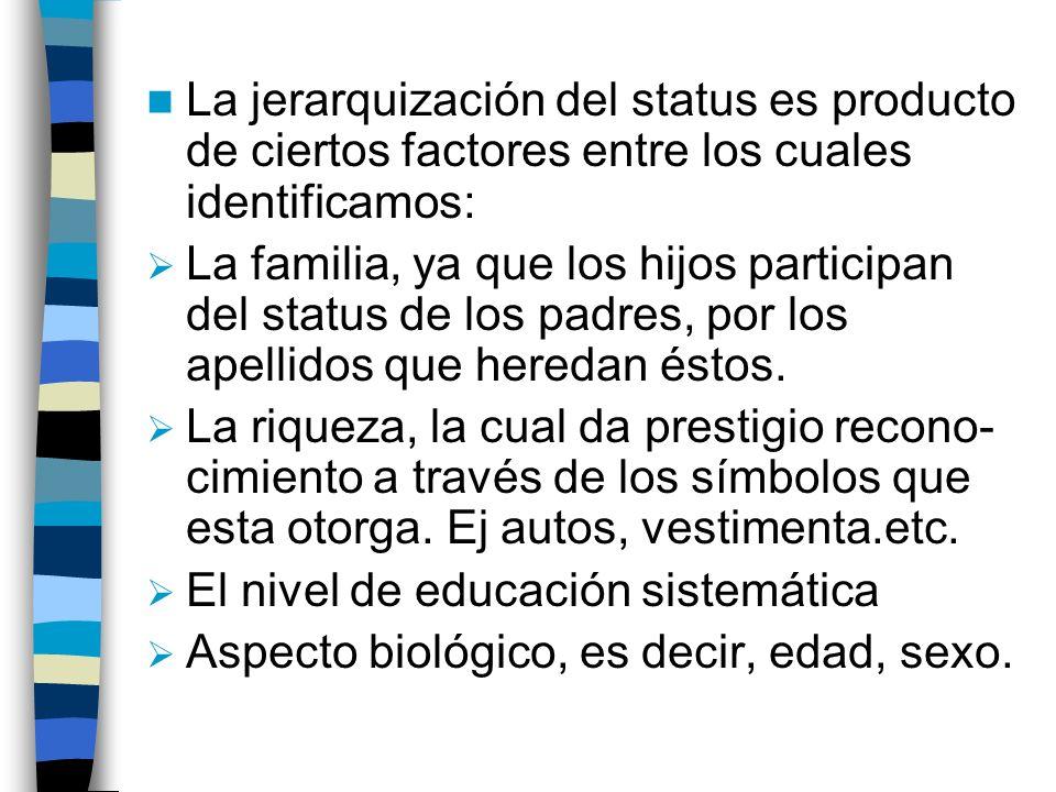 La jerarquización del status es producto de ciertos factores entre los cuales identificamos: La familia, ya que los hijos participan del status de los