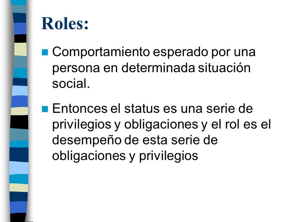 Roles: Comportamiento esperado por una persona en determinada situación social. Entonces el status es una serie de privilegios y obligaciones y el rol