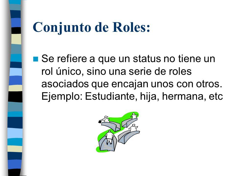 Conjunto de Roles: Se refiere a que un status no tiene un rol único, sino una serie de roles asociados que encajan unos con otros. Ejemplo: Estudiante