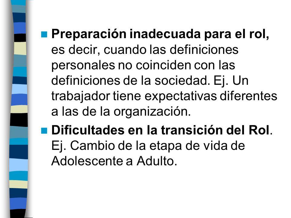 Preparación inadecuada para el rol, es decir, cuando las definiciones personales no coinciden con las definiciones de la sociedad. Ej. Un trabajador t