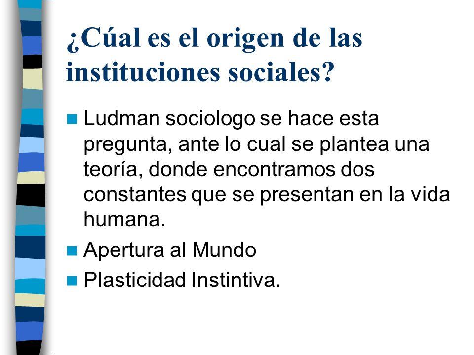 ¿Cúal es el origen de las instituciones sociales? Ludman sociologo se hace esta pregunta, ante lo cual se plantea una teoría, donde encontramos dos co