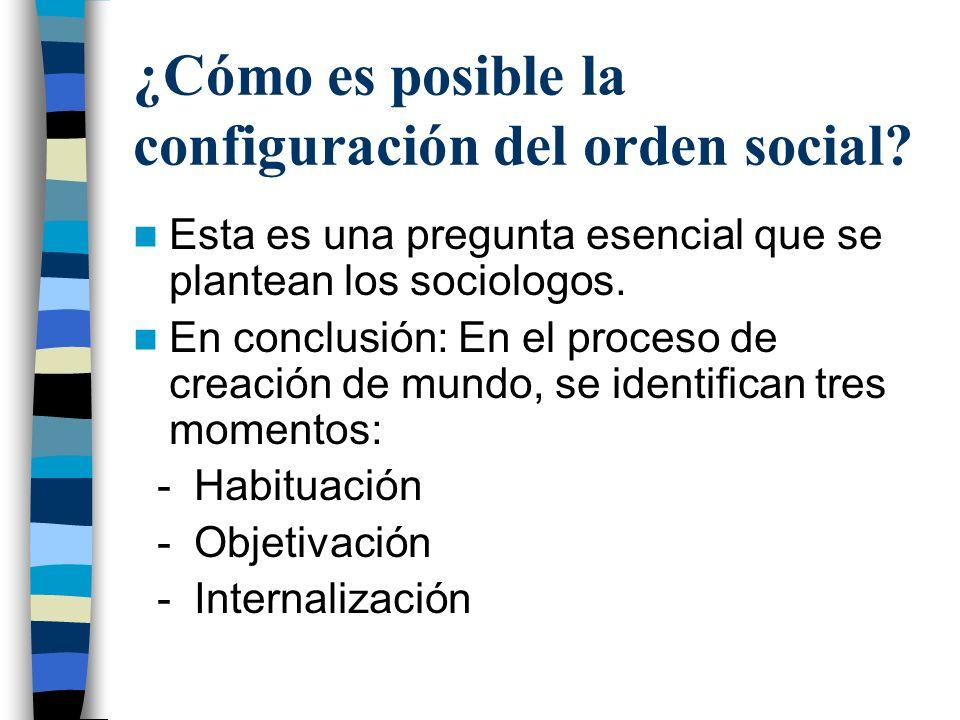 ¿Cómo es posible la configuración del orden social? Esta es una pregunta esencial que se plantean los sociologos. En conclusión: En el proceso de crea