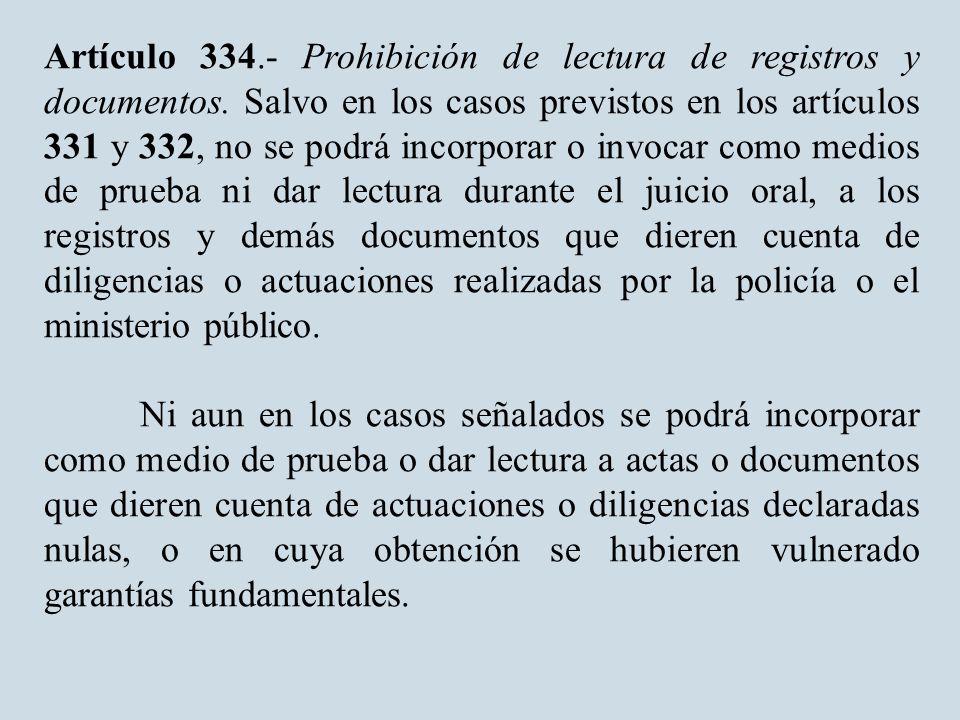 Artículo 334. Prohibición de lectura de registros y documentos.