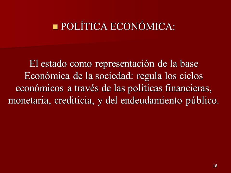 18 POLÍTICA ECONÓMICA: POLÍTICA ECONÓMICA: El estado como representación de la base Económica de la sociedad: regula los ciclos económicos a través de