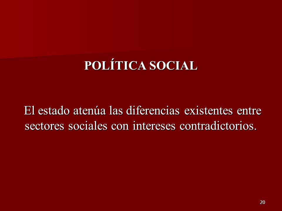 20 POLÍTICA SOCIAL El estado atenúa las diferencias existentes entre El estado atenúa las diferencias existentes entre sectores sociales con intereses