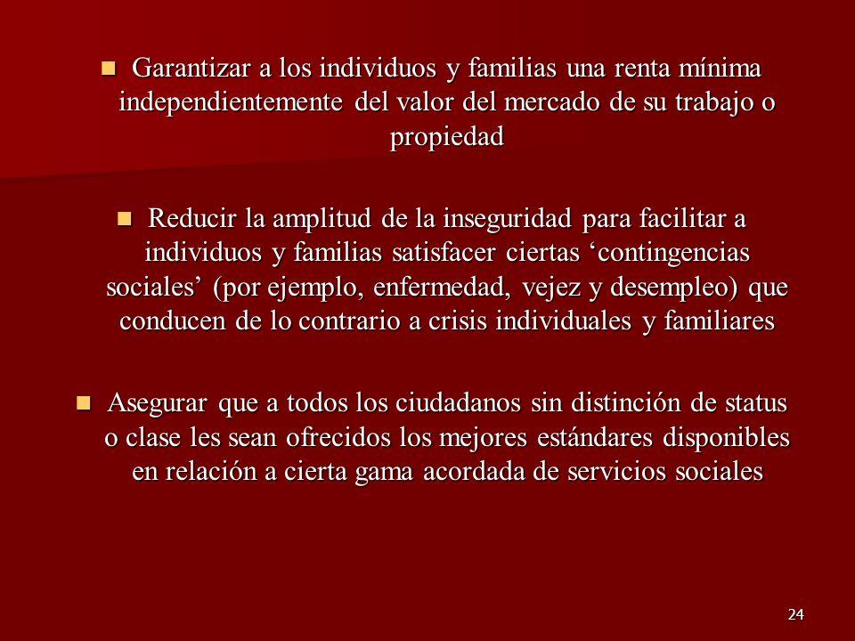 24 Garantizar a los individuos y familias una renta mínima independientemente del valor del mercado de su trabajo o propiedad Garantizar a los individ