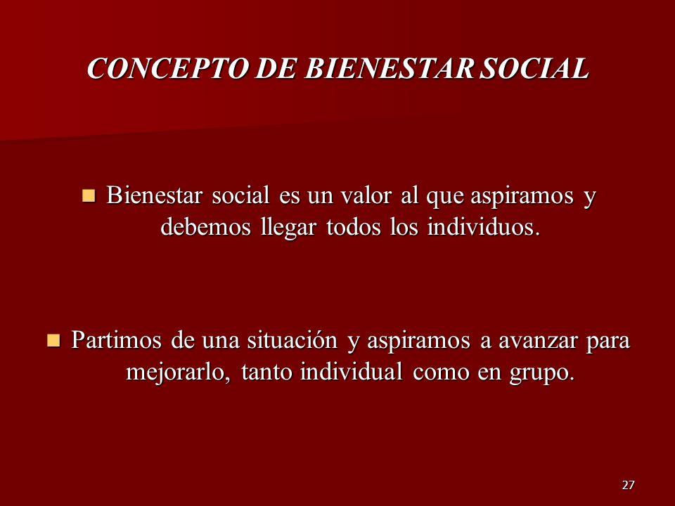 27 CONCEPTO DE BIENESTAR SOCIAL Bienestar social es un valor al que aspiramos y debemos llegar todos los individuos. Bienestar social es un valor al q