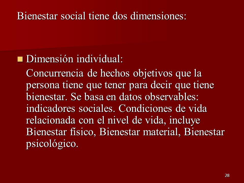 28 Bienestar social tiene dos dimensiones: Dimensión individual: Dimensión individual: Concurrencia de hechos objetivos que la persona tiene que tener