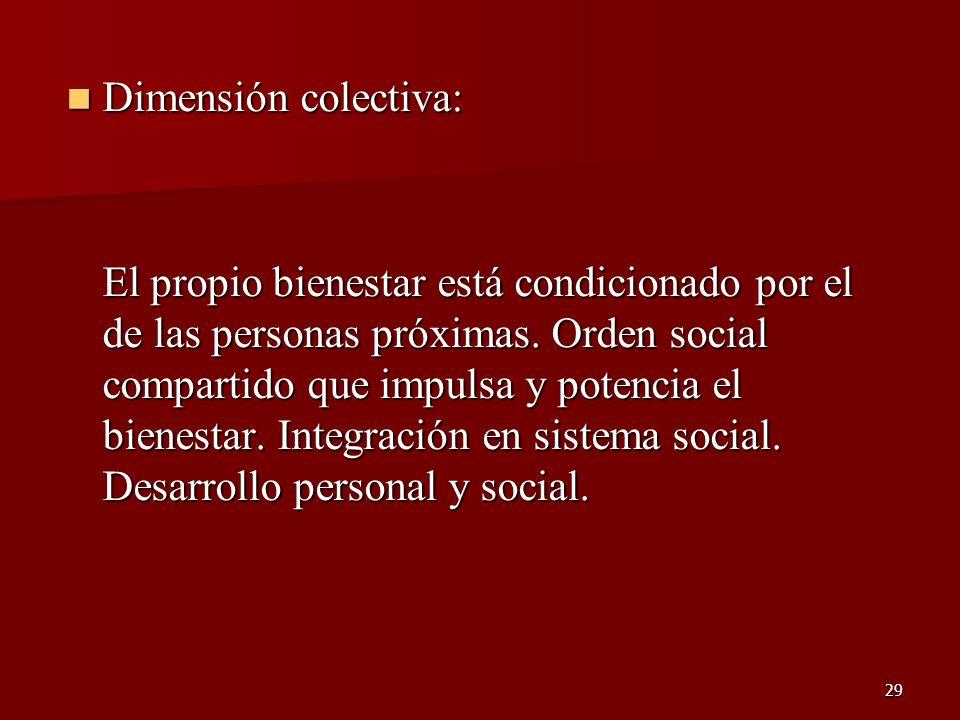 29 Dimensión colectiva: Dimensión colectiva: El propio bienestar está condicionado por el de las personas próximas. Orden social compartido que impuls