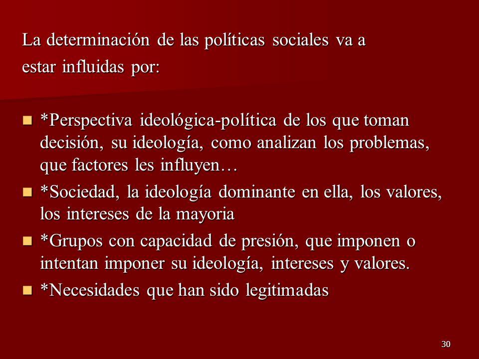 30 La determinación de las políticas sociales va a estar influidas por: *Perspectiva ideológica-política de los que toman decisión, su ideología, como