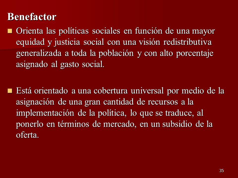 35 Benefactor Orienta las políticas sociales en función de una mayor equidad y justicia social con una visión redistributiva generalizada a toda la po