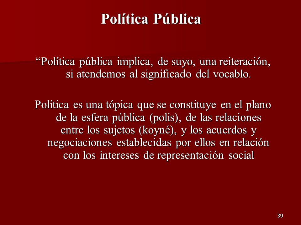 39 Política Pública Política pública implica, de suyo, una reiteración, si atendemos al significado del vocablo. Política es una tópica que se constit