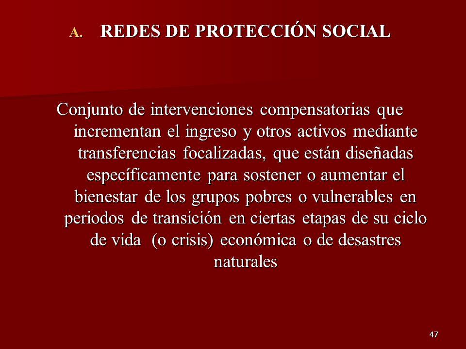 47 A. REDES DE PROTECCIÓN SOCIAL Conjunto de intervenciones compensatorias que incrementan el ingreso y otros activos mediante transferencias focaliza