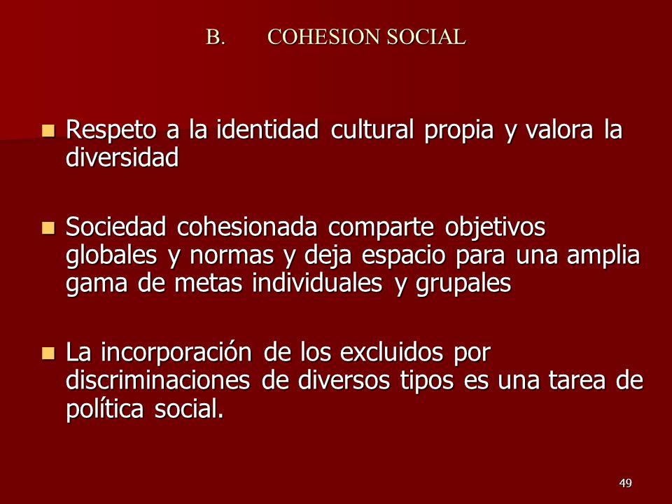 49 B.COHESION SOCIAL Respeto a la identidad cultural propia y valora la diversidad Respeto a la identidad cultural propia y valora la diversidad Socie