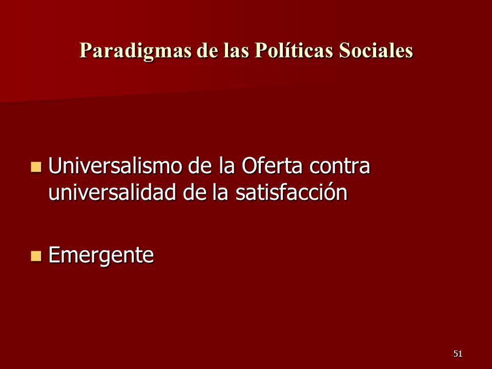 51 Paradigmas de las Políticas Sociales Universalismo de la Oferta contra universalidad de la satisfacción Universalismo de la Oferta contra universal