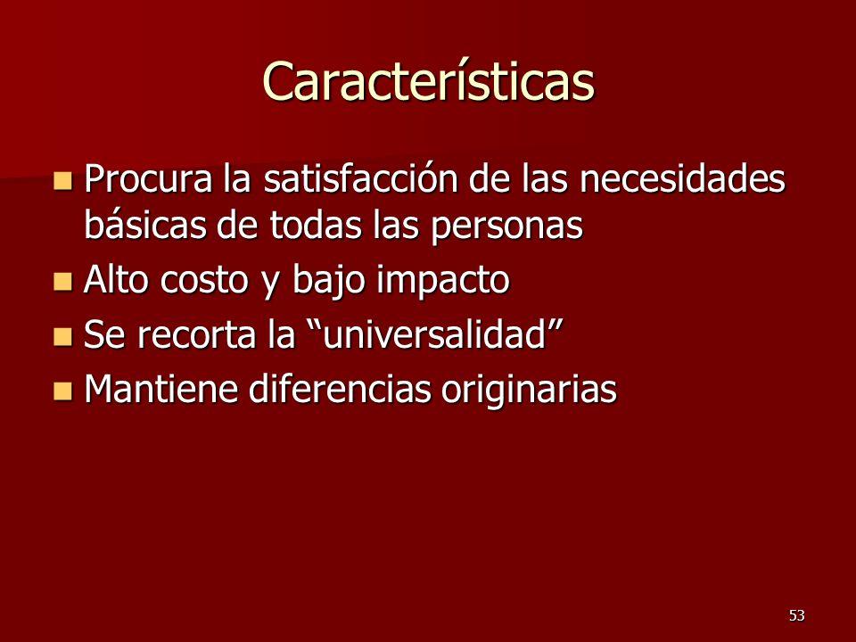 53 Características Procura la satisfacción de las necesidades básicas de todas las personas Procura la satisfacción de las necesidades básicas de toda