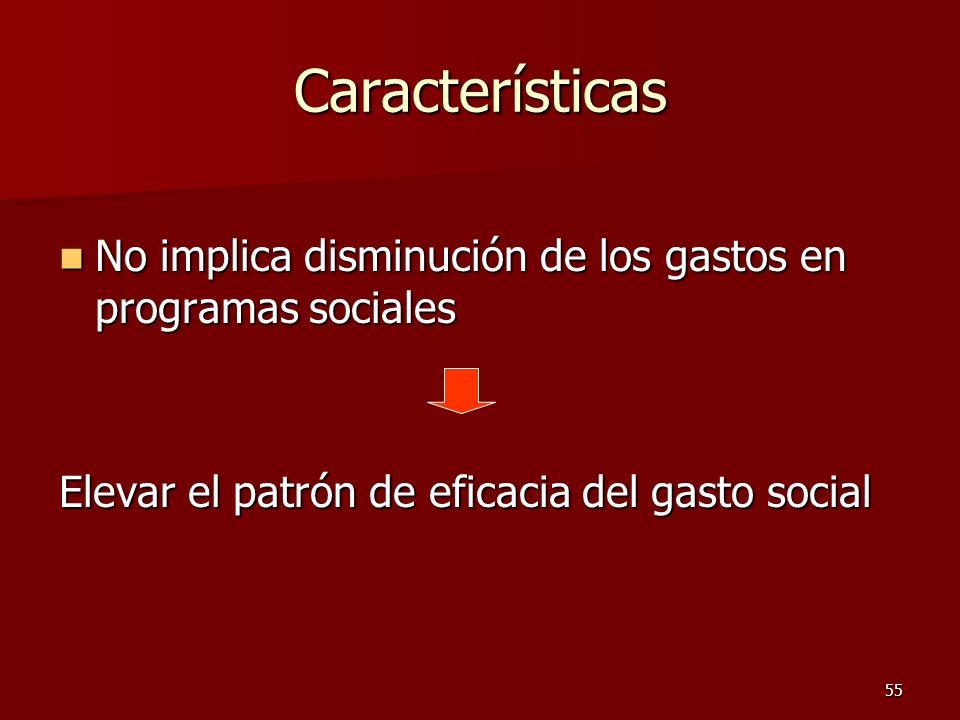 55 Características No implica disminución de los gastos en programas sociales No implica disminución de los gastos en programas sociales Elevar el pat