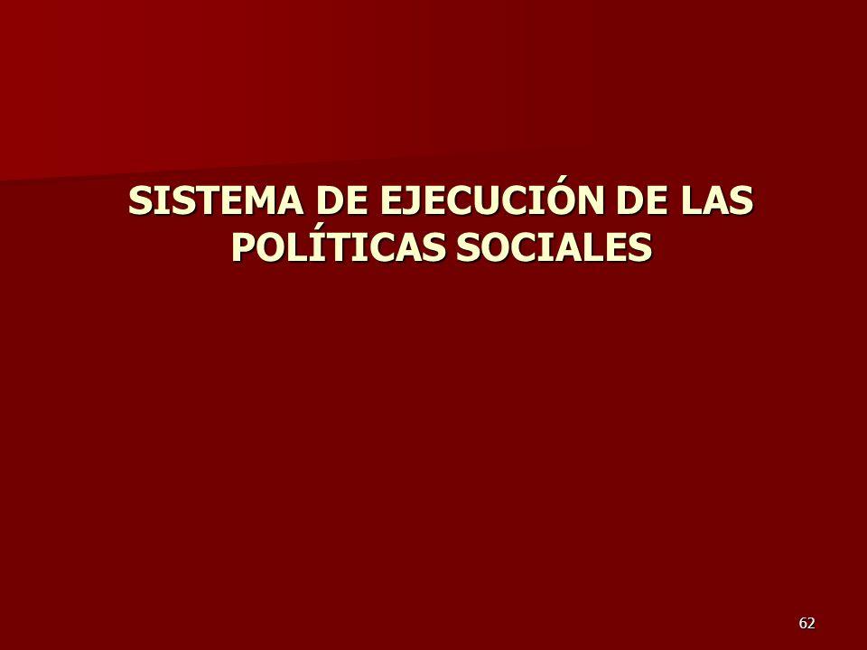 62 SISTEMA DE EJECUCIÓN DE LAS POLÍTICAS SOCIALES