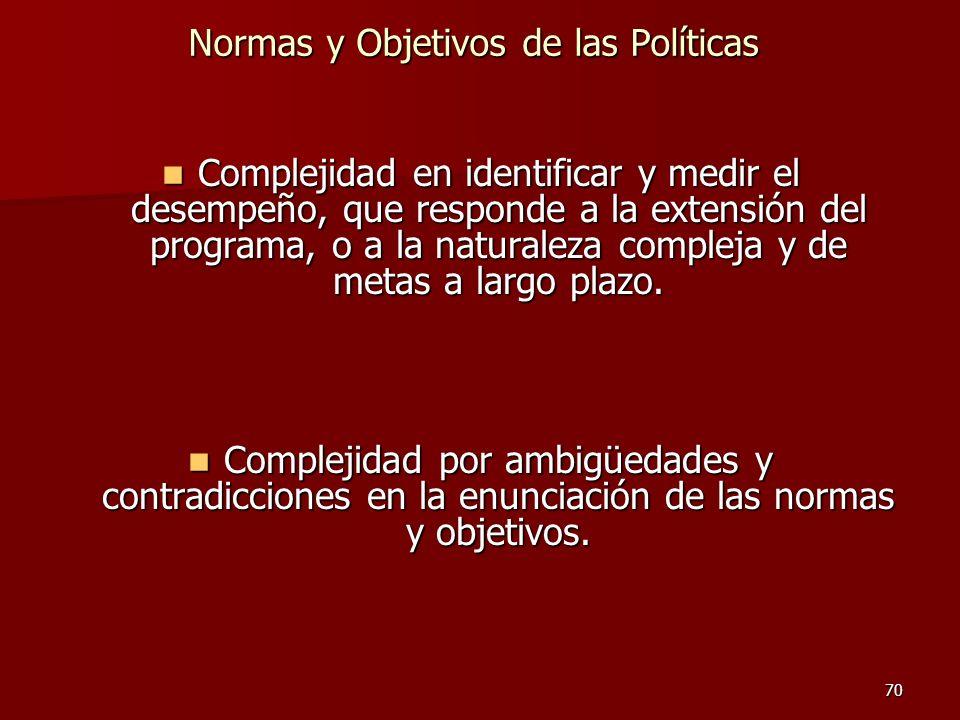 70 Normas y Objetivos de las Políticas Complejidad en identificar y medir el desempeño, que responde a la extensión del programa, o a la naturaleza co
