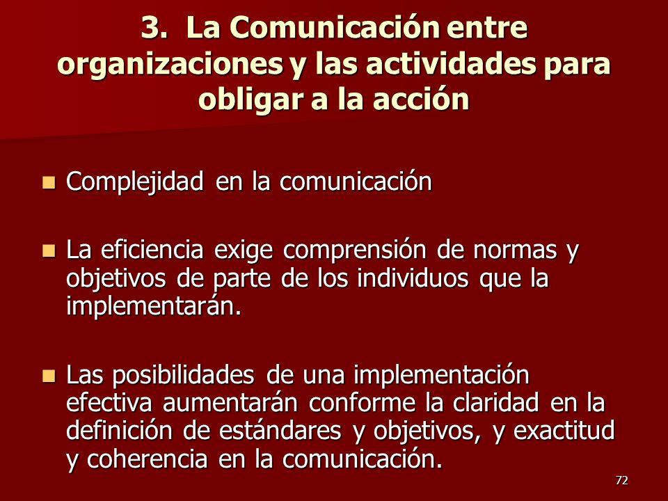 72 3. La Comunicación entre organizaciones y las actividades para obligar a la acción Complejidad en la comunicación Complejidad en la comunicación La